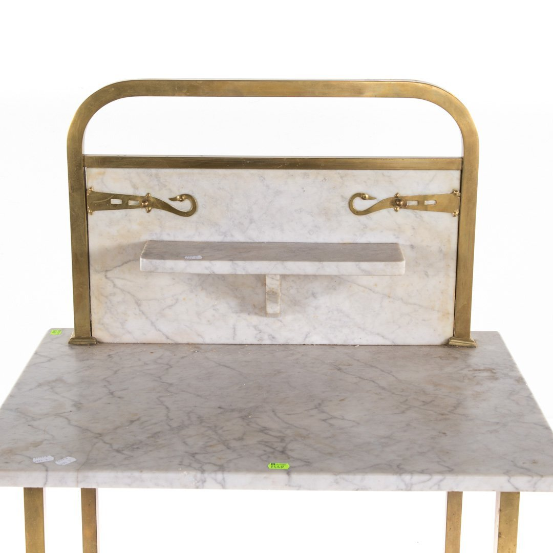 Edwardian brass & marble wash stand and side table - 7