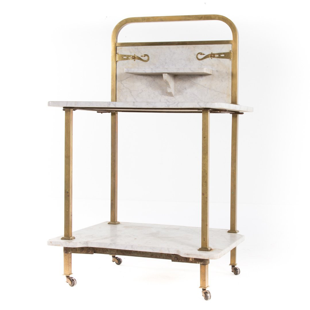 Edwardian brass & marble wash stand and side table - 8