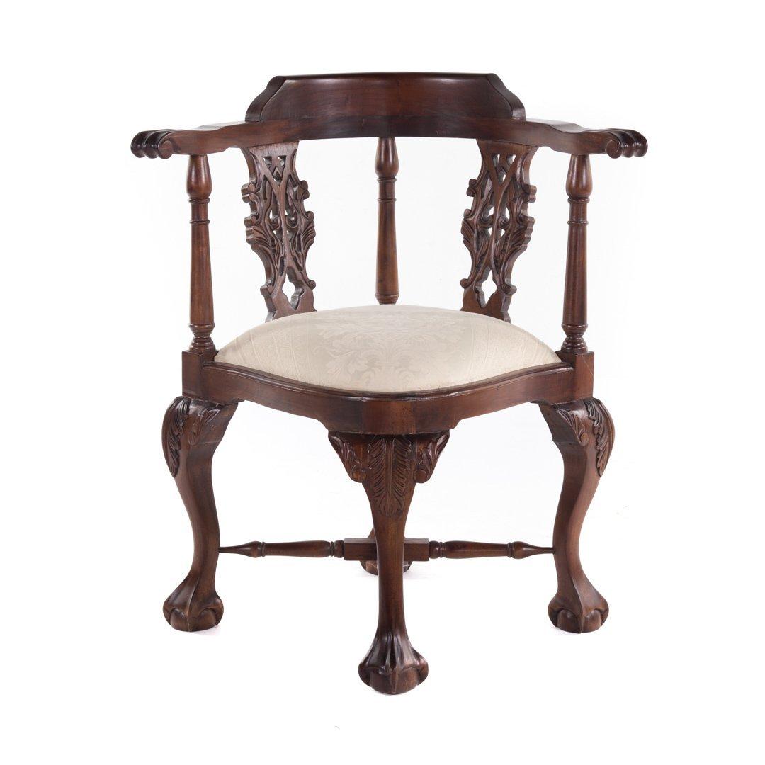 George II style mahogany corner chair
