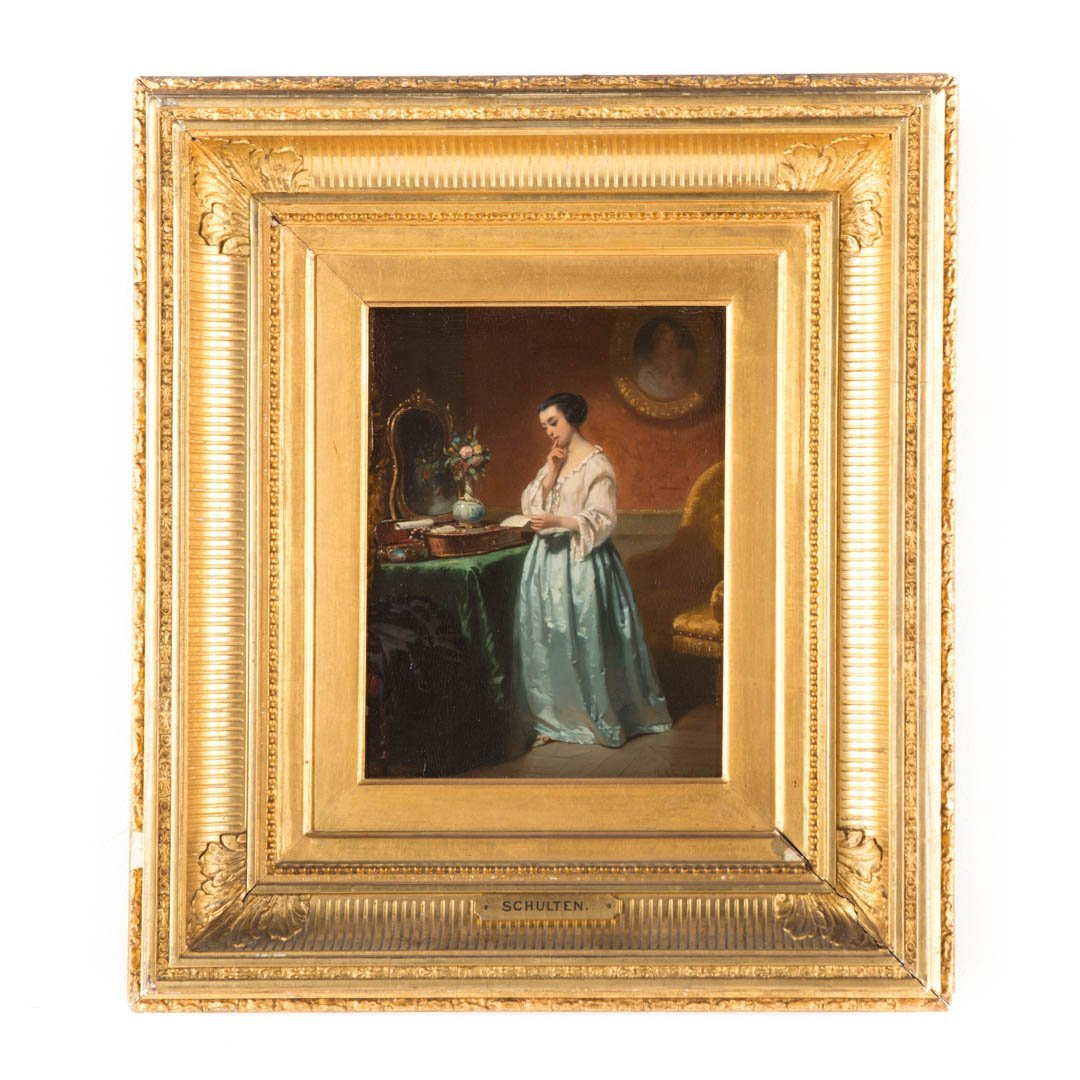 Hendrik Scholten. The Love Letter, oil on panel