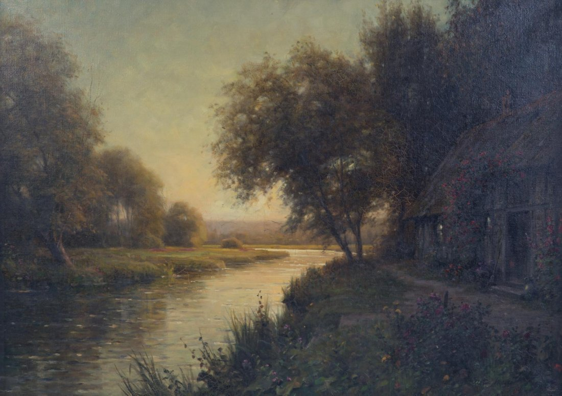 Louis Aston Knight. Cottage by the River, oil