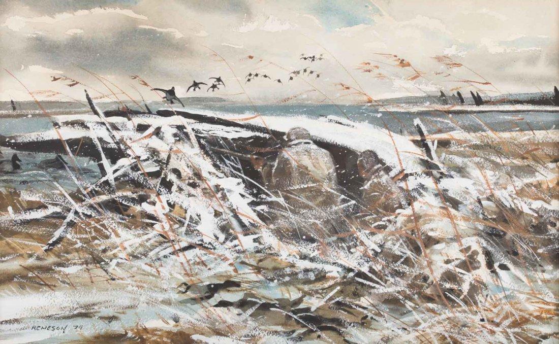 Chet Reneson, Duck Hunting, watercolor