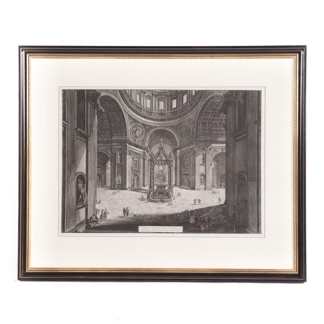"G. Piranesi ""Veduta Interna...S. Pietro"" engraving"