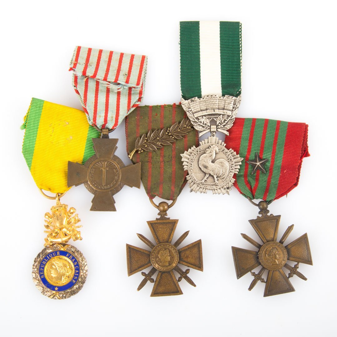 Five French WWI medals
