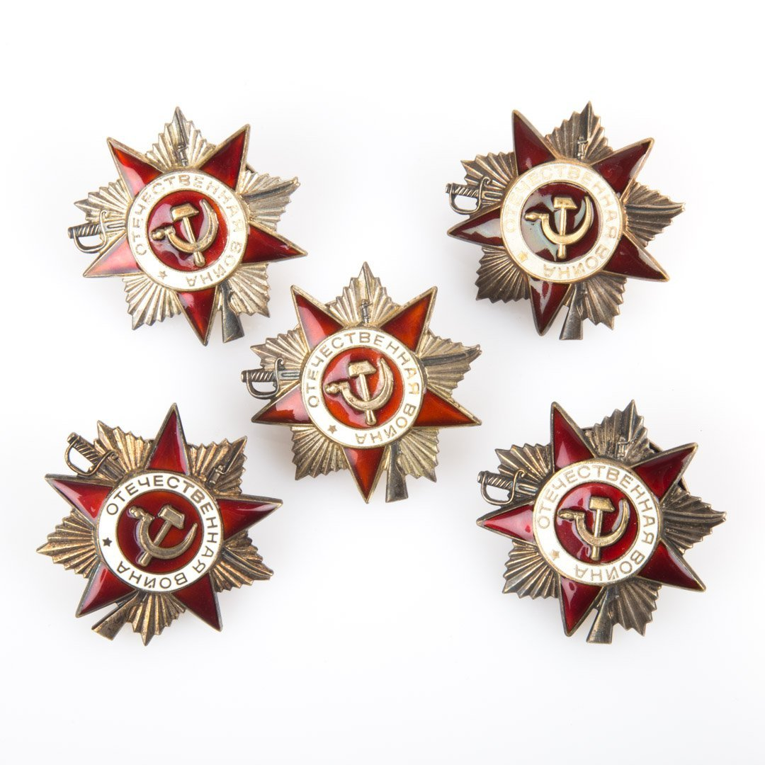 Five enameled Russian medals