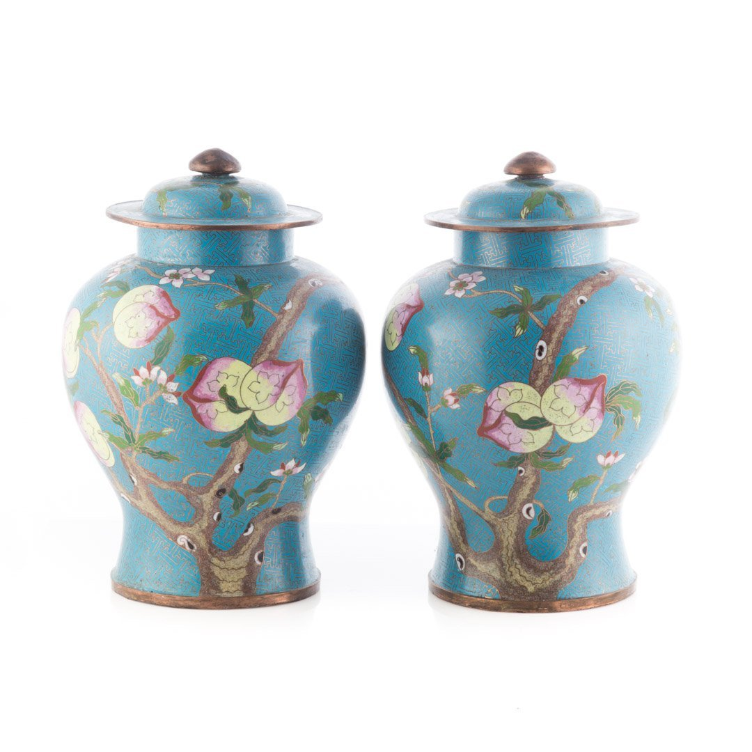 Pair Chinese cloisonne enamel jars