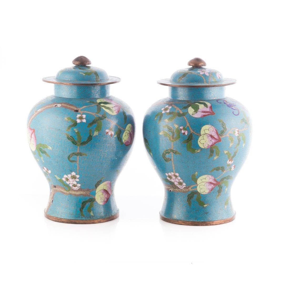 Pair Chinese cloisonne enamel jars - 2