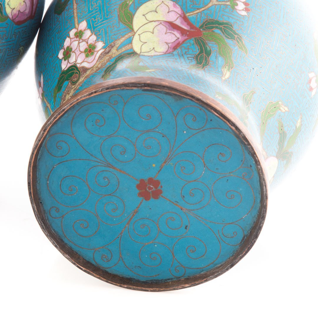 Pair Chinese cloisonne enamel jars - 4
