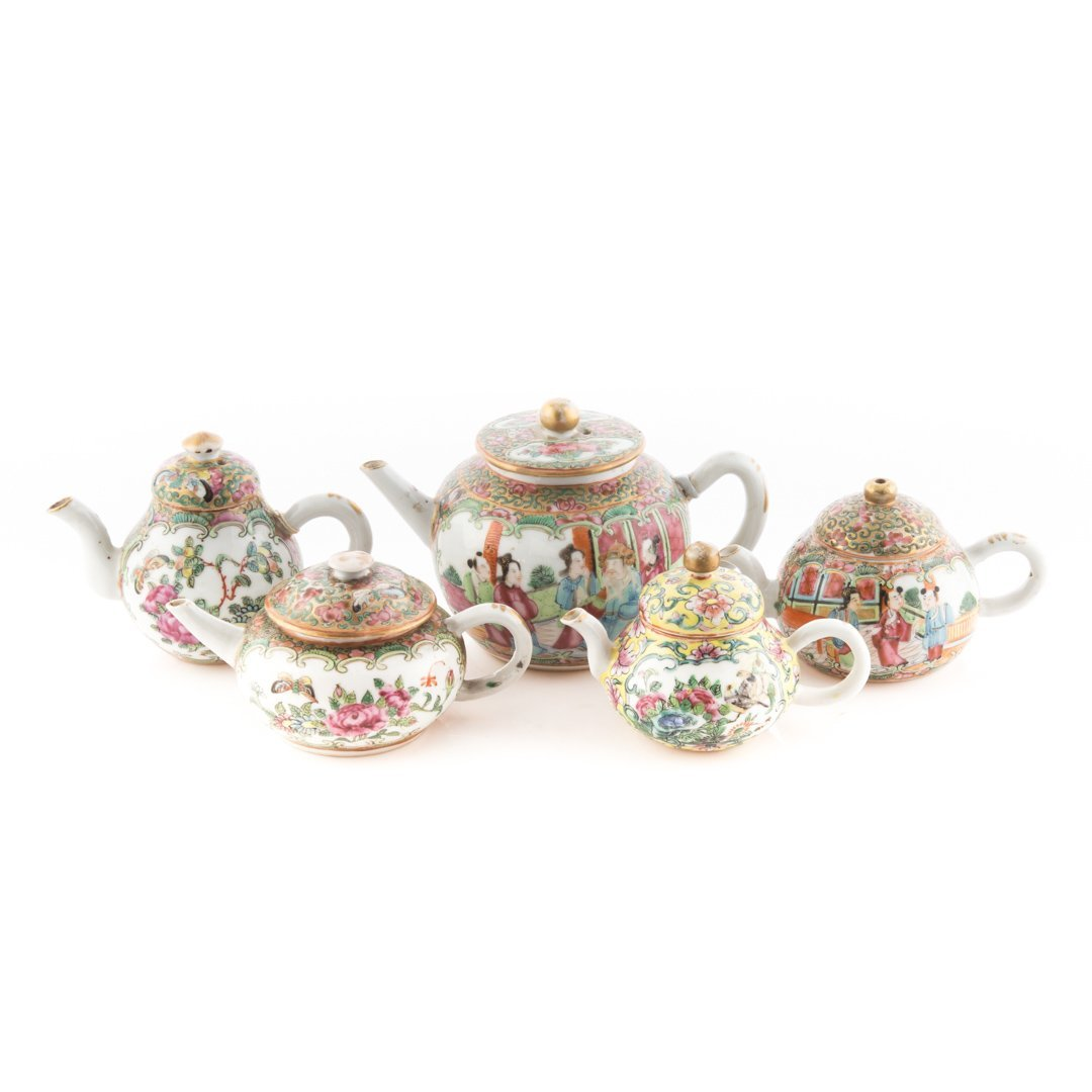 Five Chinese Export porcelain miniature teapots