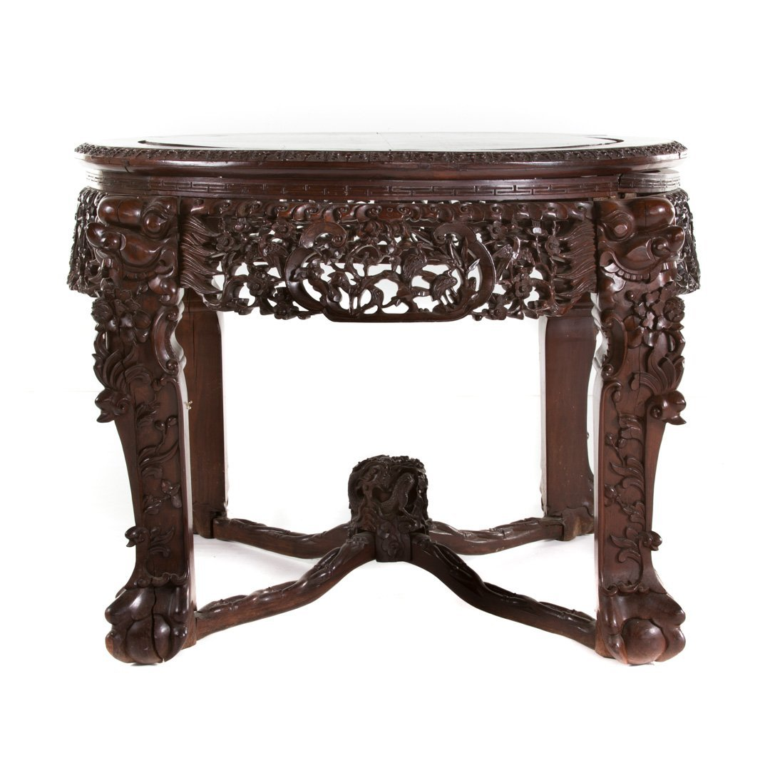 Chinese carved rosewood round center table