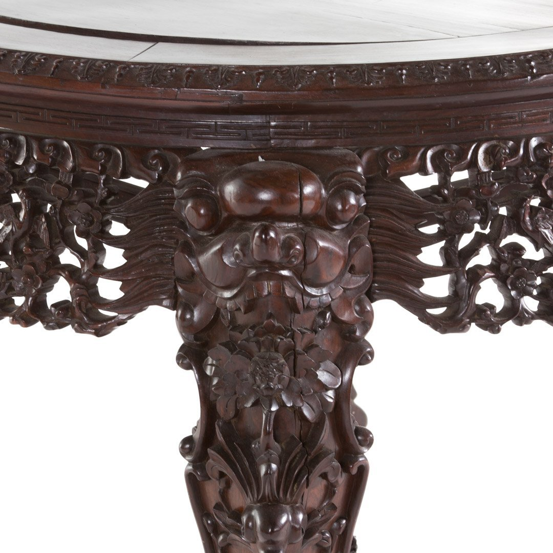 Chinese carved rosewood round center table - 3