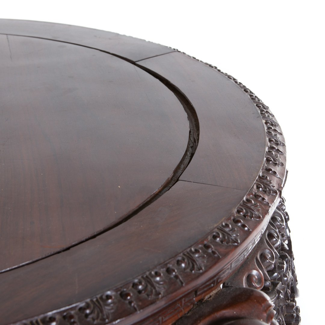 Chinese carved rosewood round center table - 4