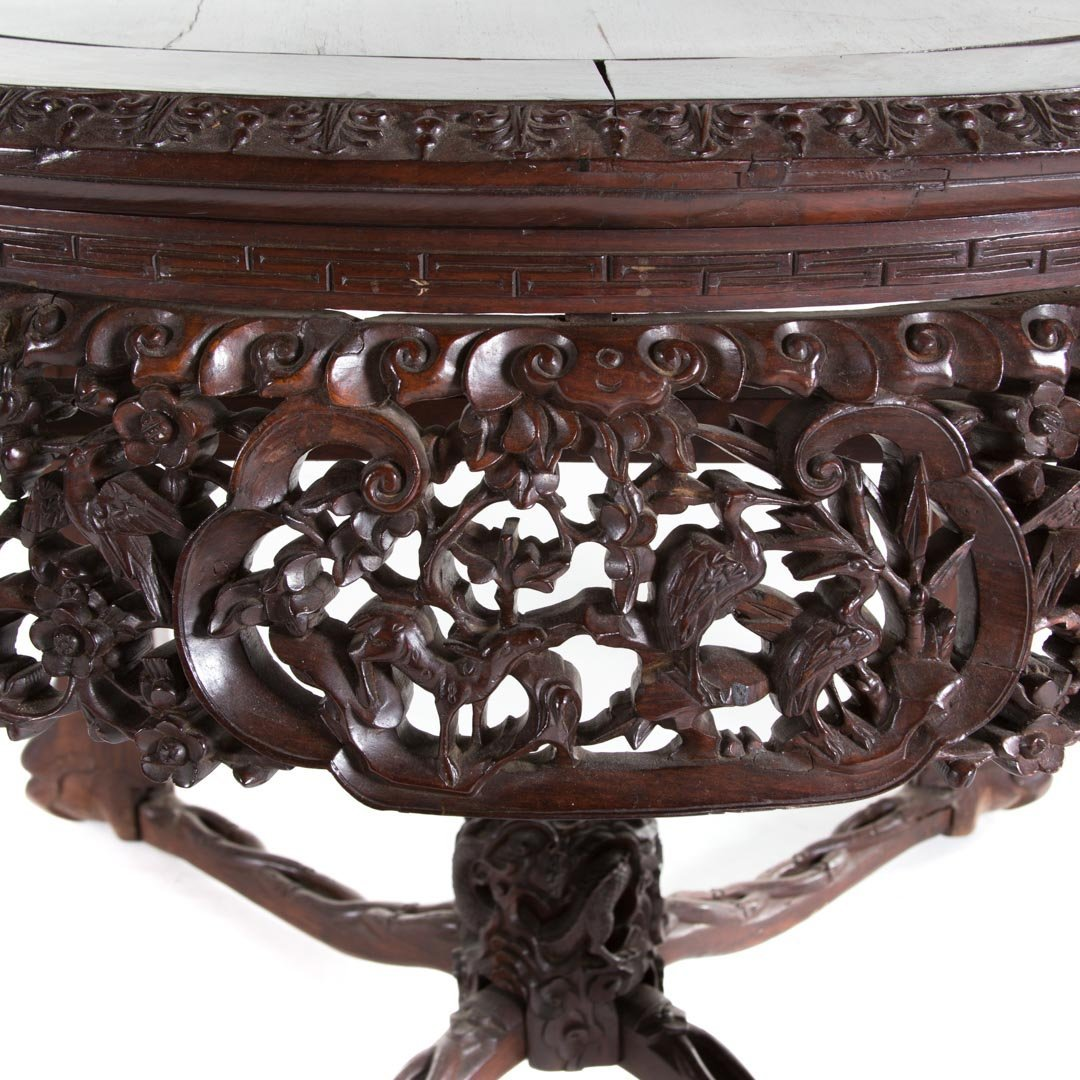 Chinese carved rosewood round center table - 5