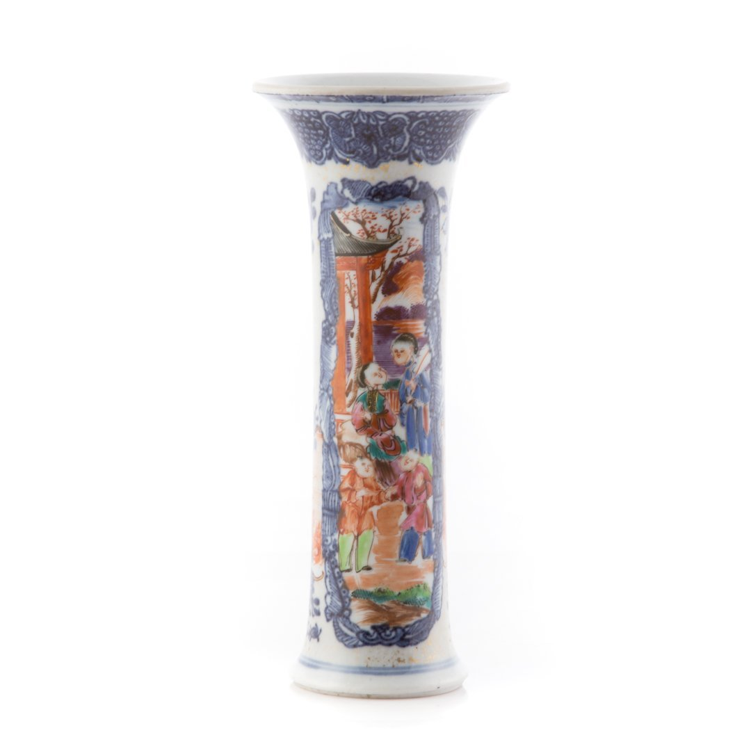 Chinese Export Mandarin palette trumpet vase