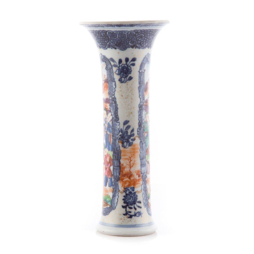 Chinese Export Mandarin palette trumpet vase - 2