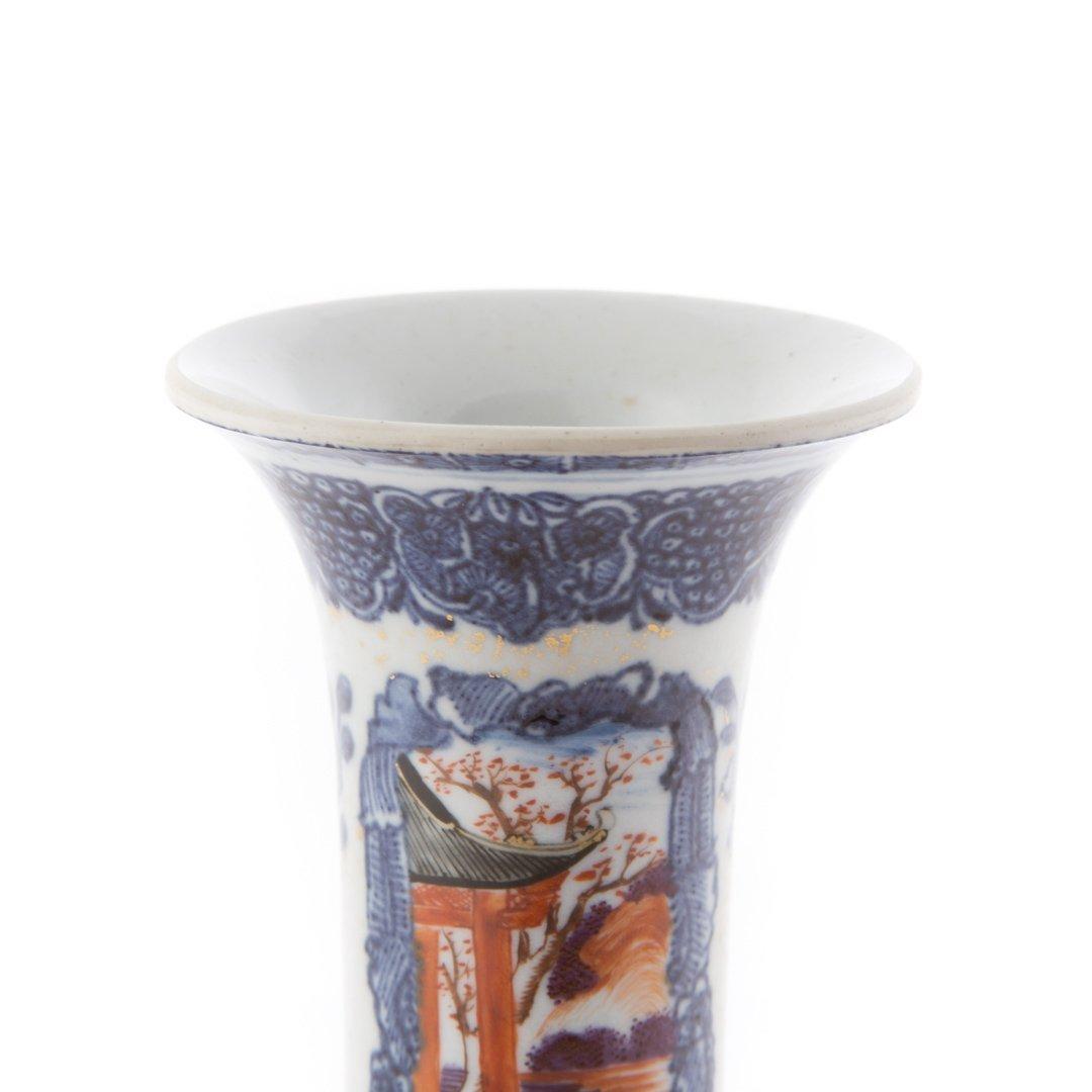 Chinese Export Mandarin palette trumpet vase - 5