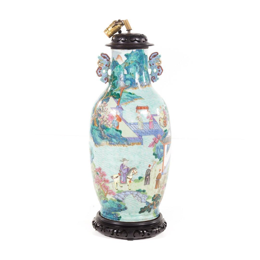 Chinese Export Rose Mandarin vase lamp