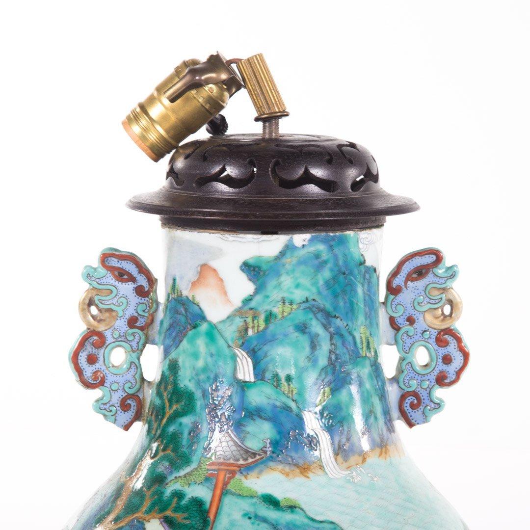 Chinese Export Rose Mandarin vase lamp - 2