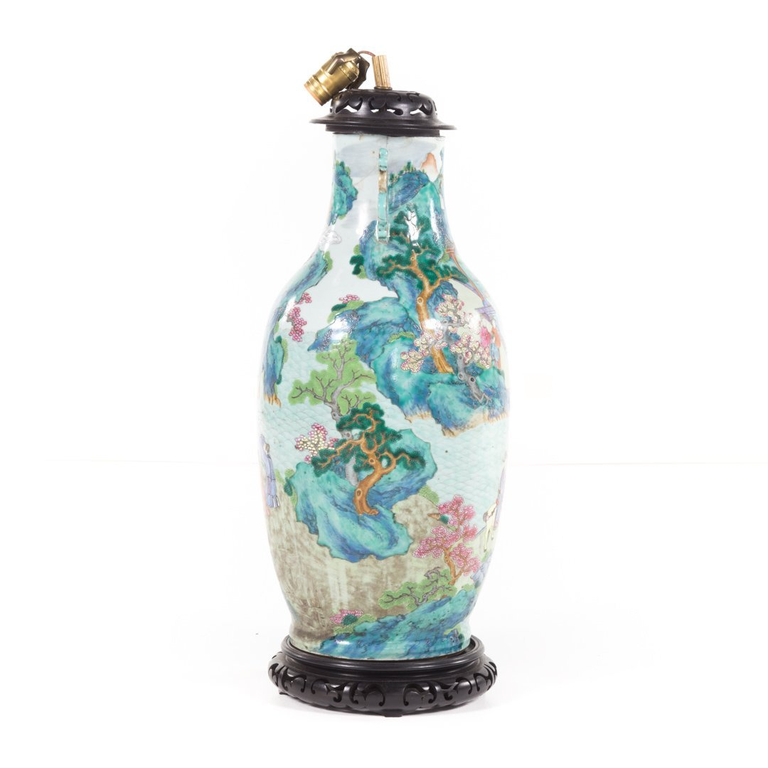 Chinese Export Rose Mandarin vase lamp - 3