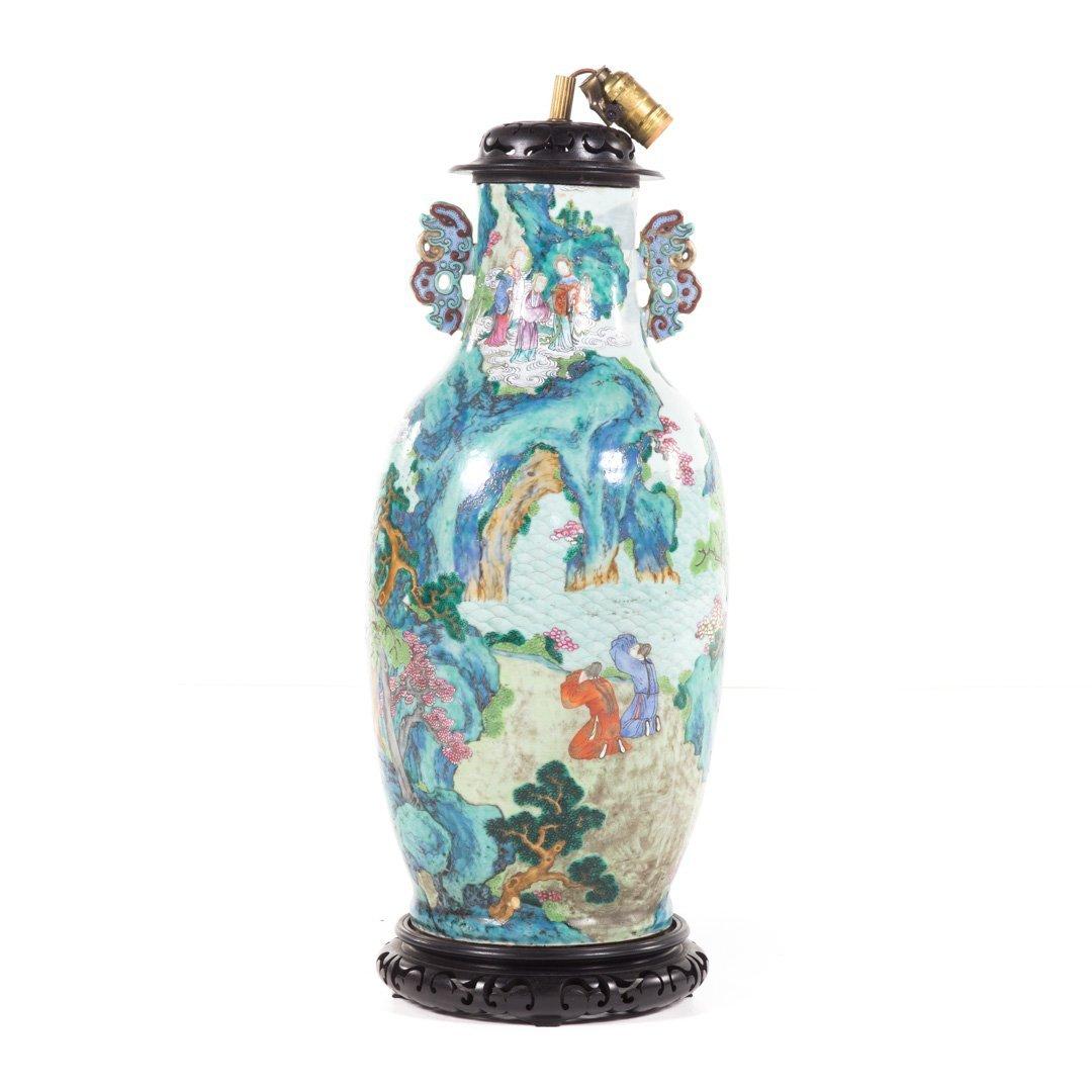 Chinese Export Rose Mandarin vase lamp - 4