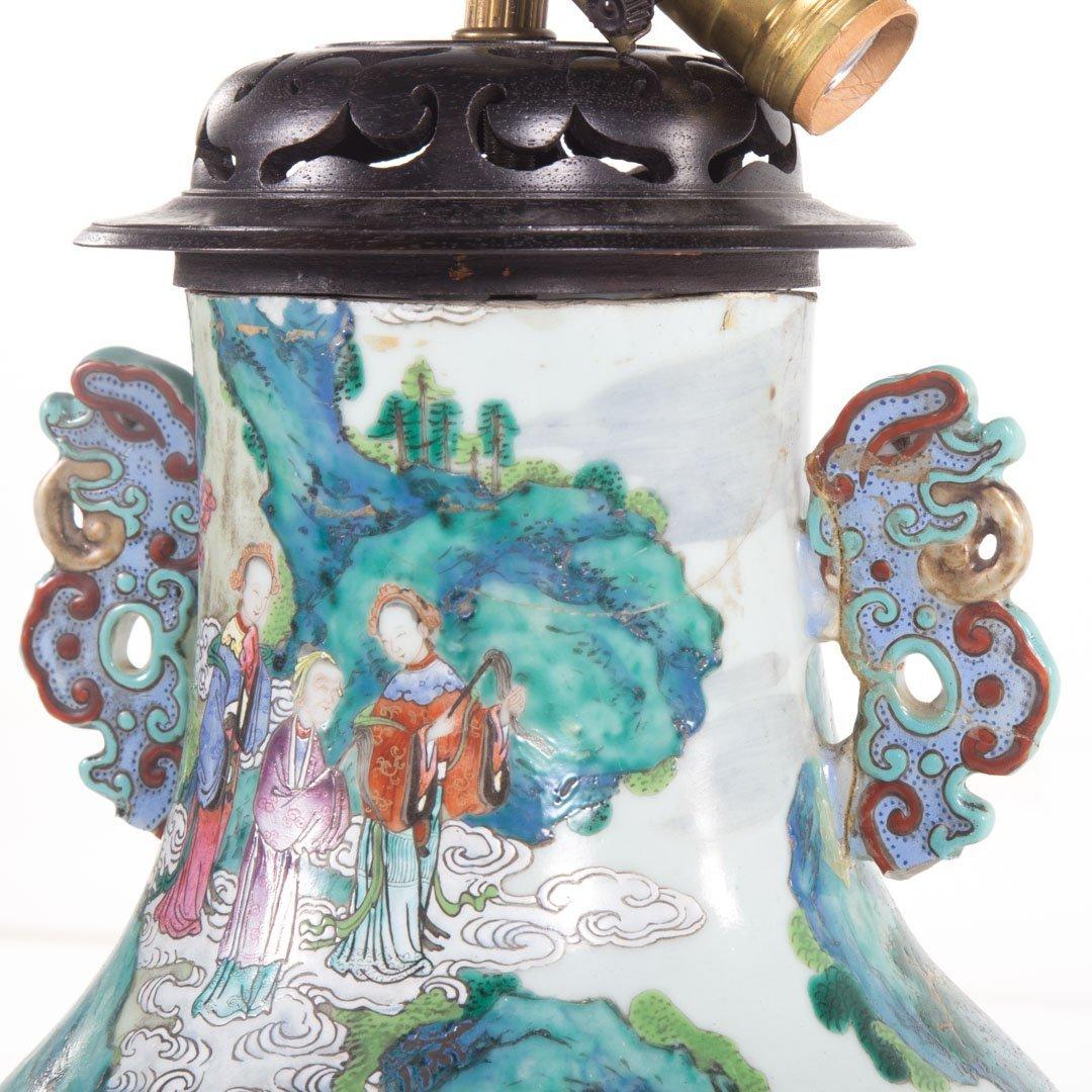 Chinese Export Rose Mandarin vase lamp - 5