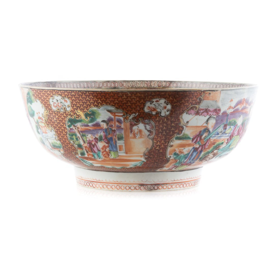 Chinese Export punch bowl in the Mandarin palette - 2