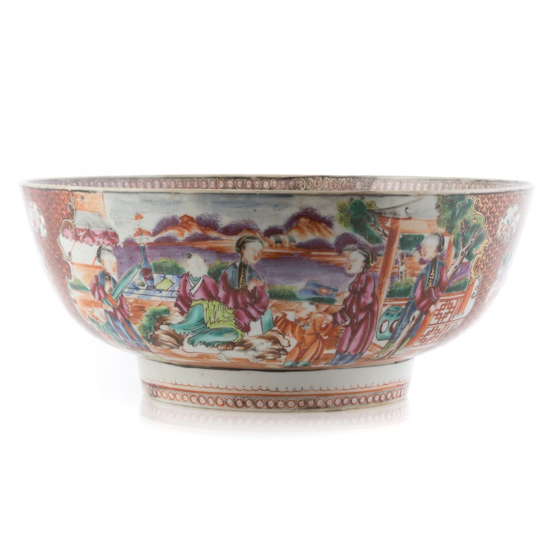 Chinese Export punch bowl in the Mandarin palette - 3