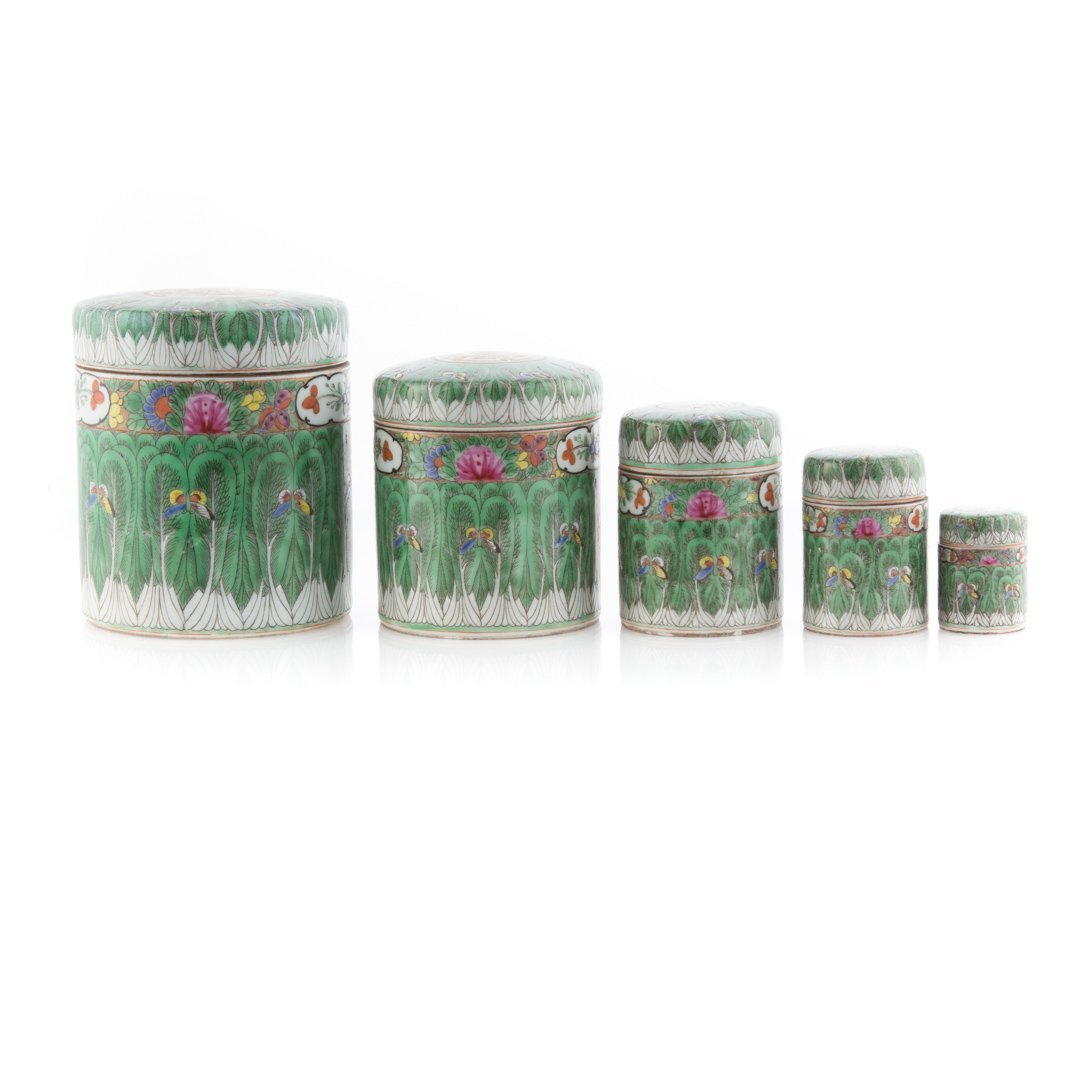 Five Chinese Export cylindrical vanity boxes - 2