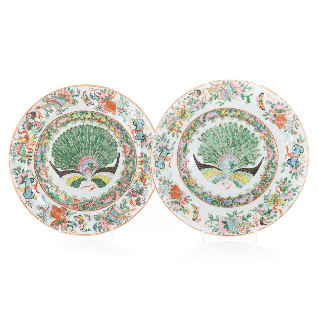 Two Chinese Export porcelain Famille Rose plates