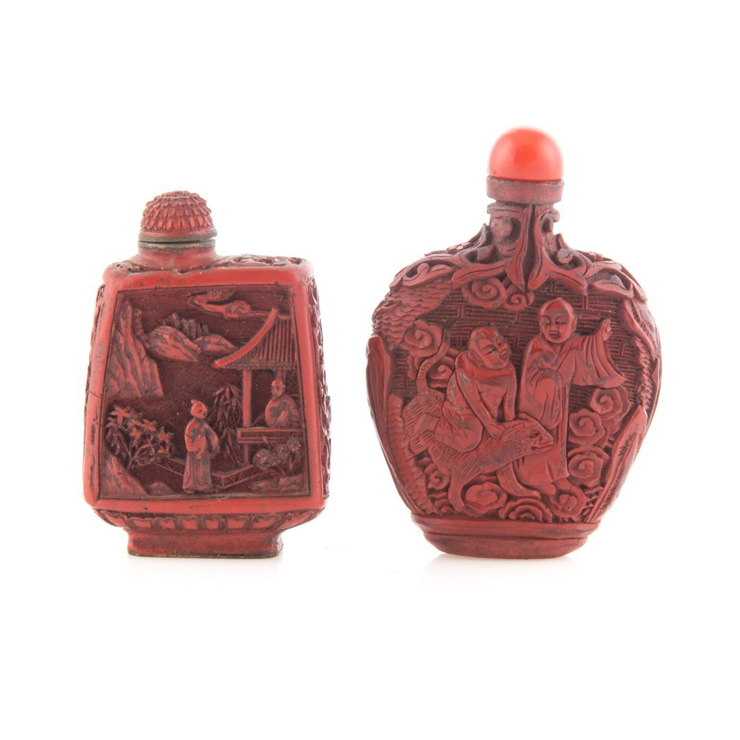 Two Chinese cinnabar lacquer snuff bottles - 2