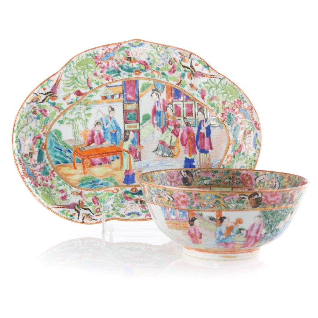 Two Rose Mandarin porcelain articles