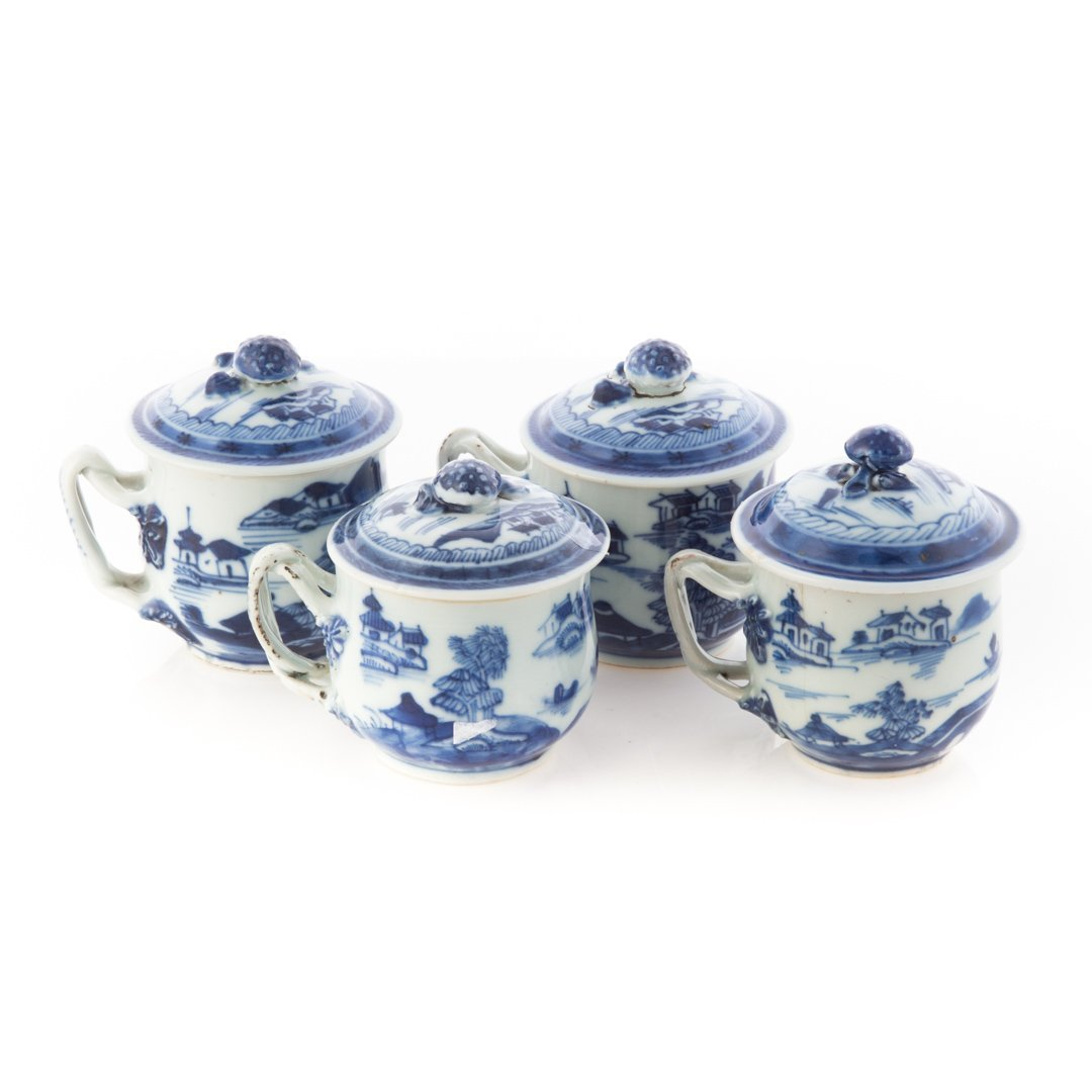 Four Chinese Export Canton porcelain syllabubs