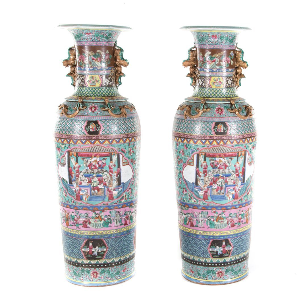 Pair Chinese Export monumental Famille Rose vases