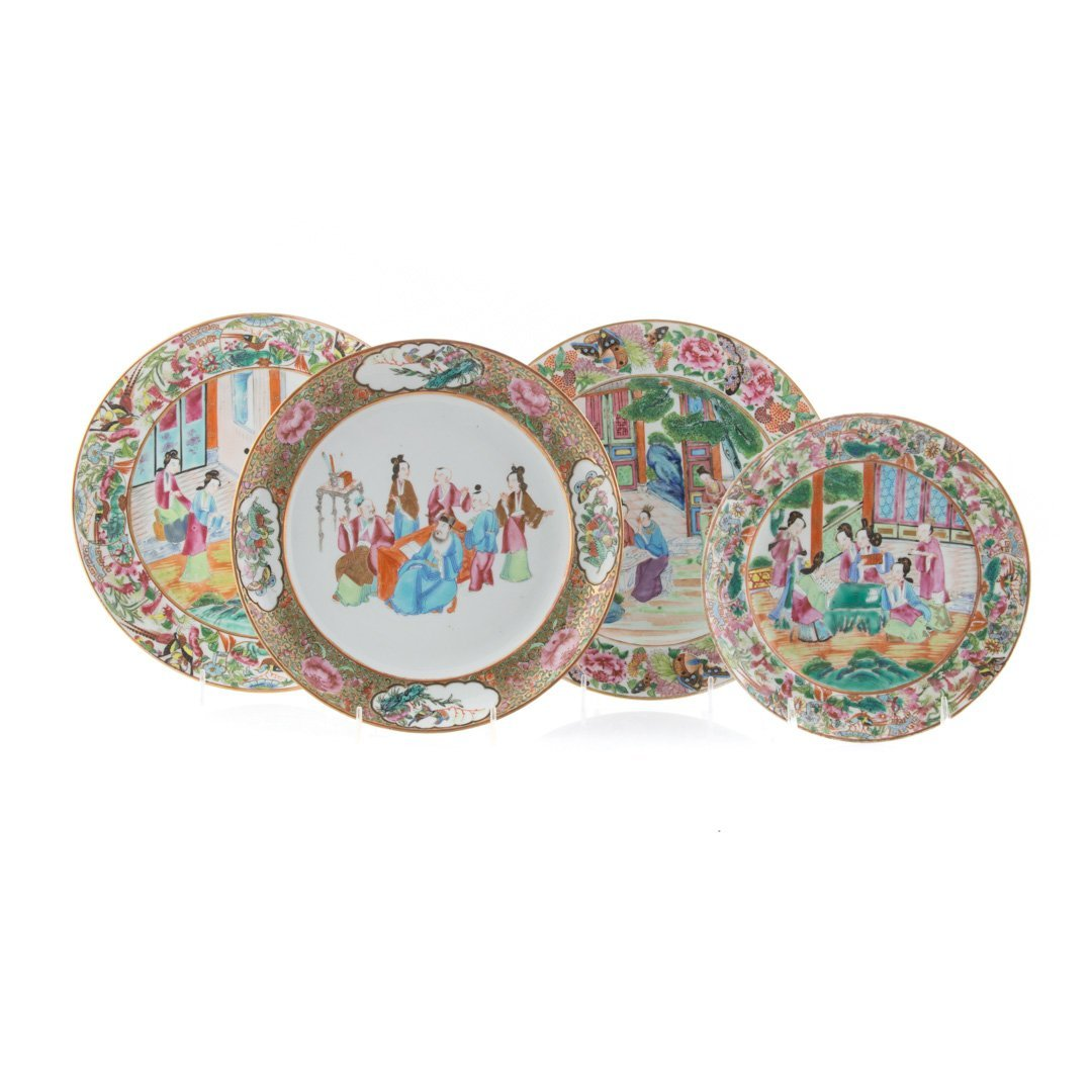 Four Chinese Export Rose Mandarin plates