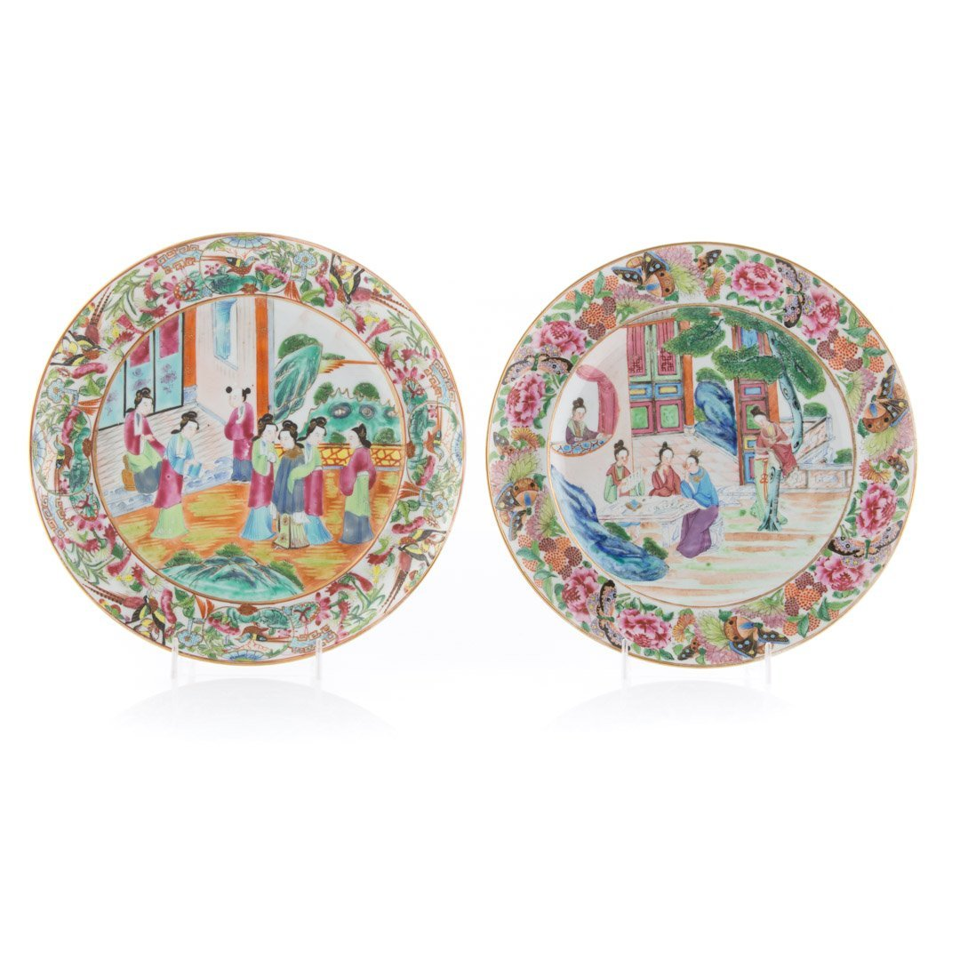 Four Chinese Export Rose Mandarin plates - 2