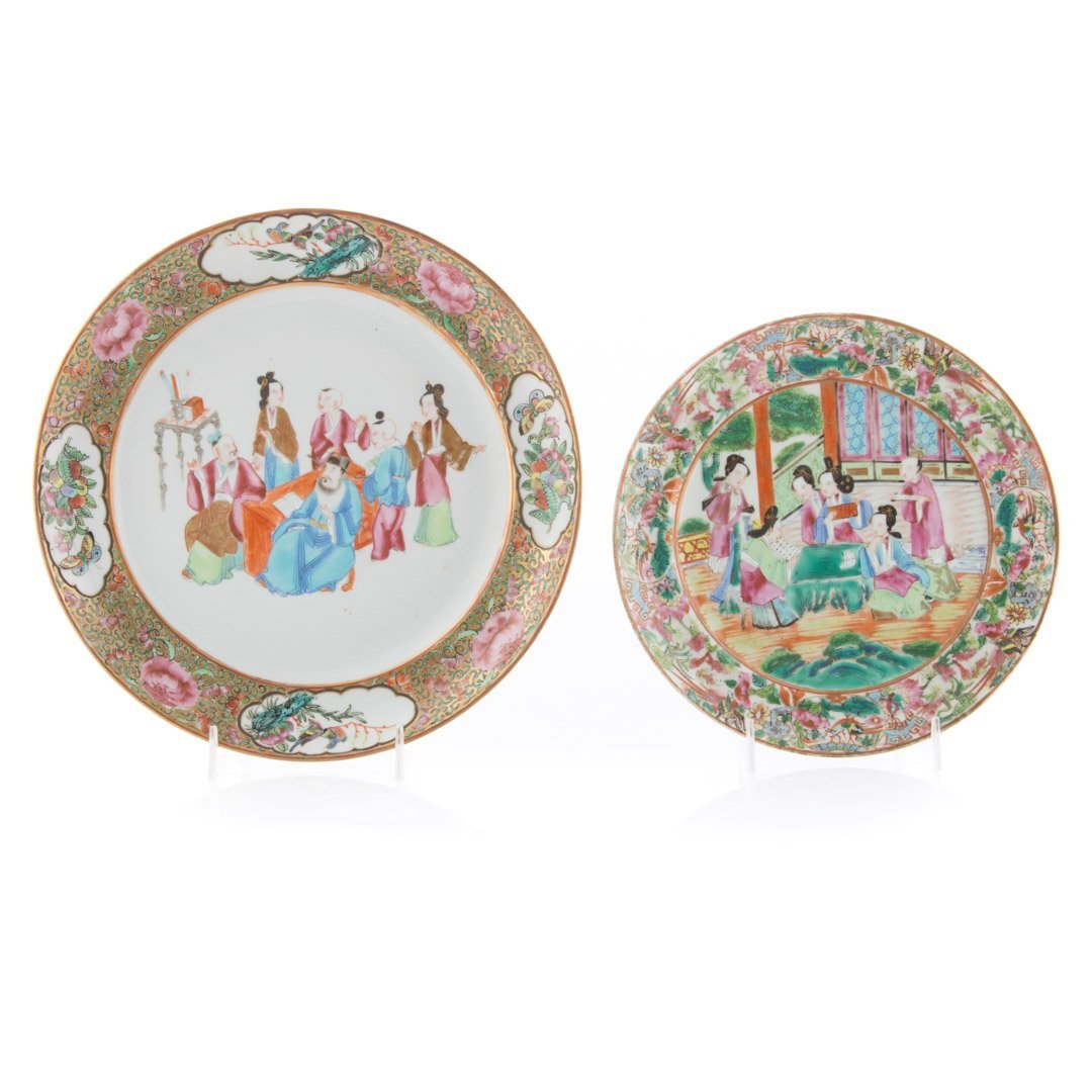 Four Chinese Export Rose Mandarin plates - 3