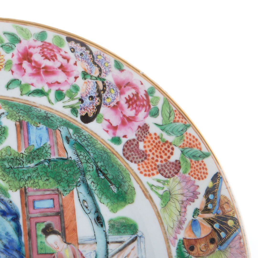 Four Chinese Export Rose Mandarin plates - 5