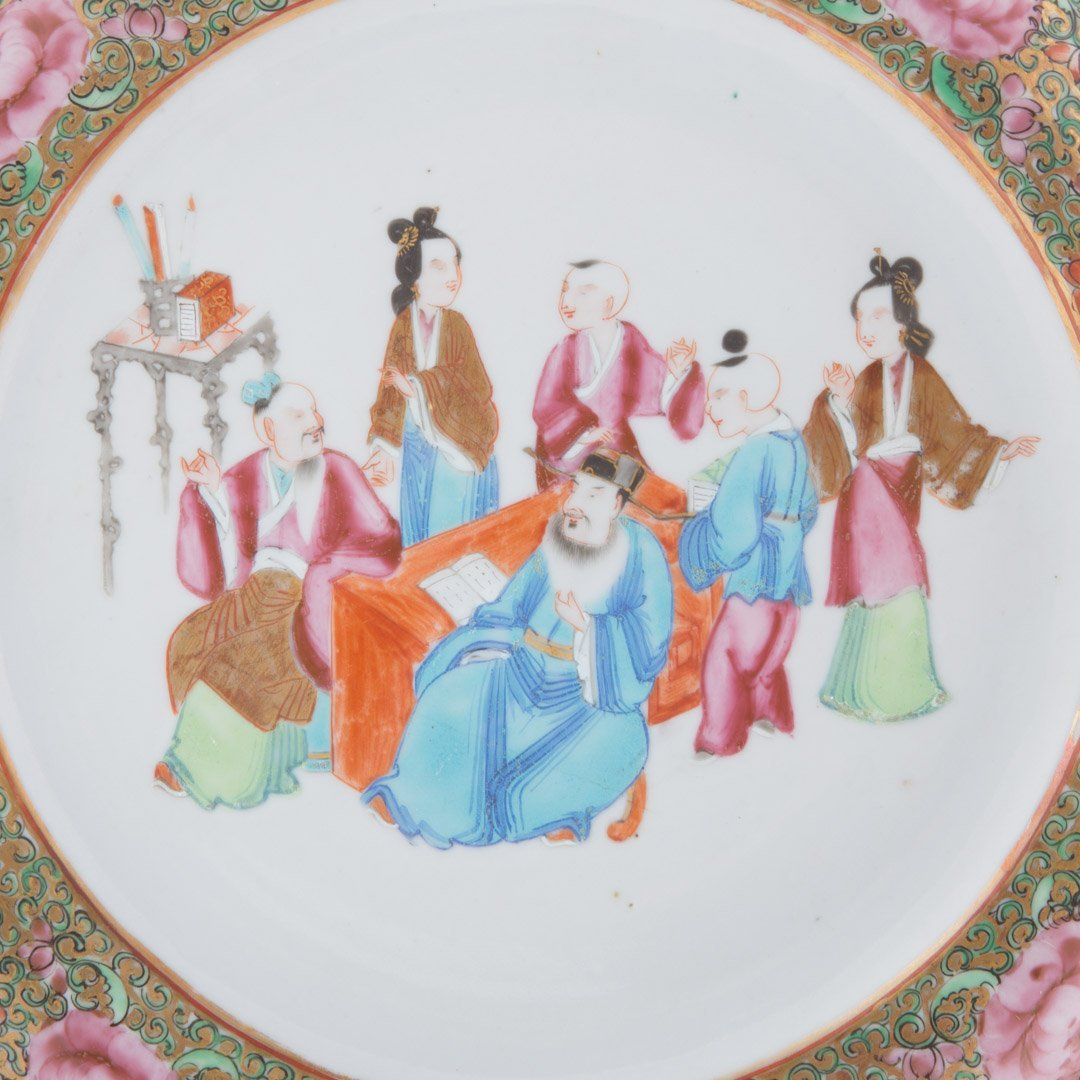 Four Chinese Export Rose Mandarin plates - 6