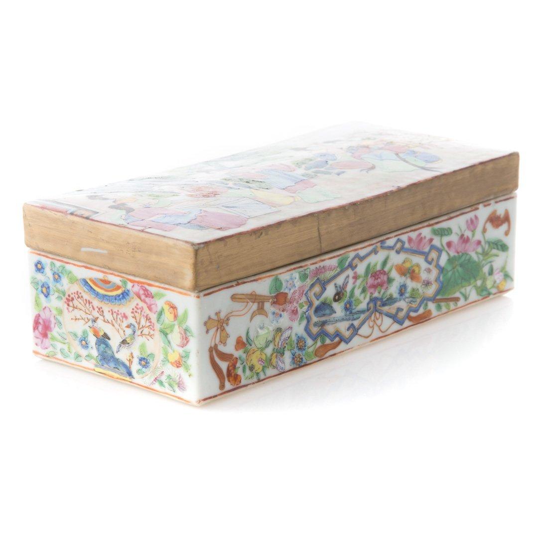 Chinese Export Rose Mandarin pen box - 2
