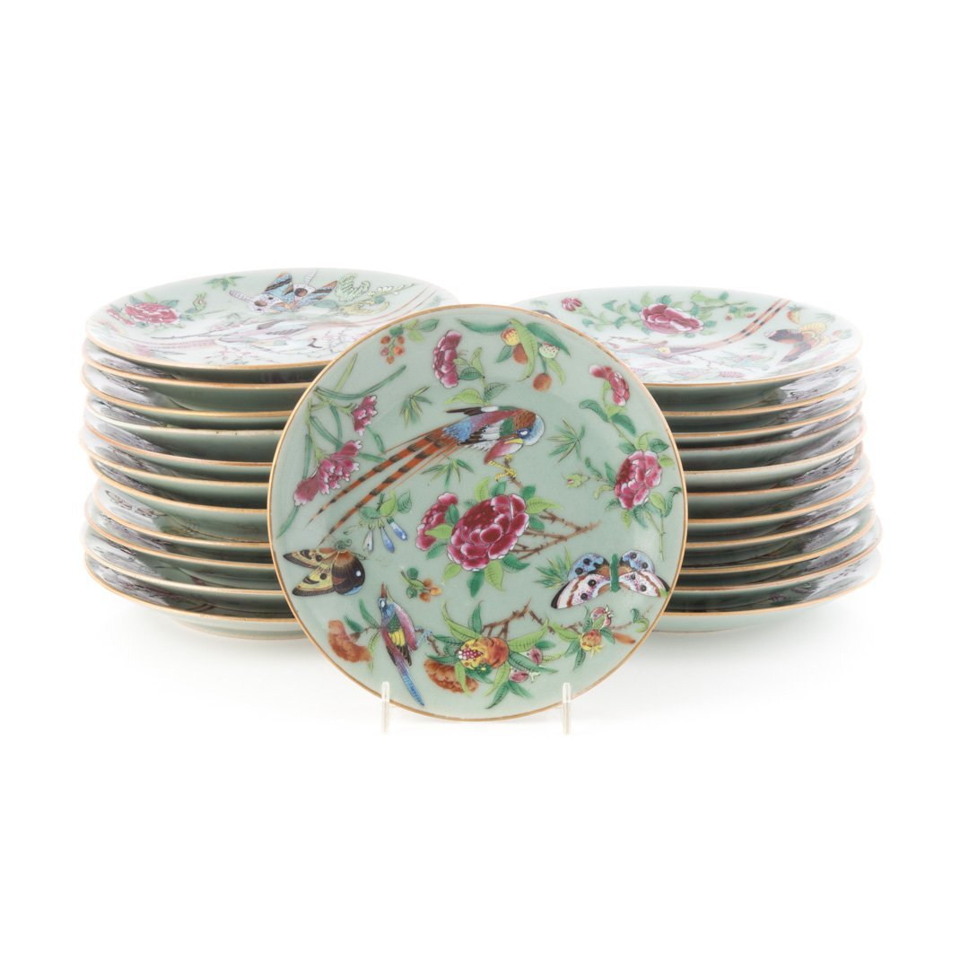23 Chinese Export Famille Rose on celadon plates
