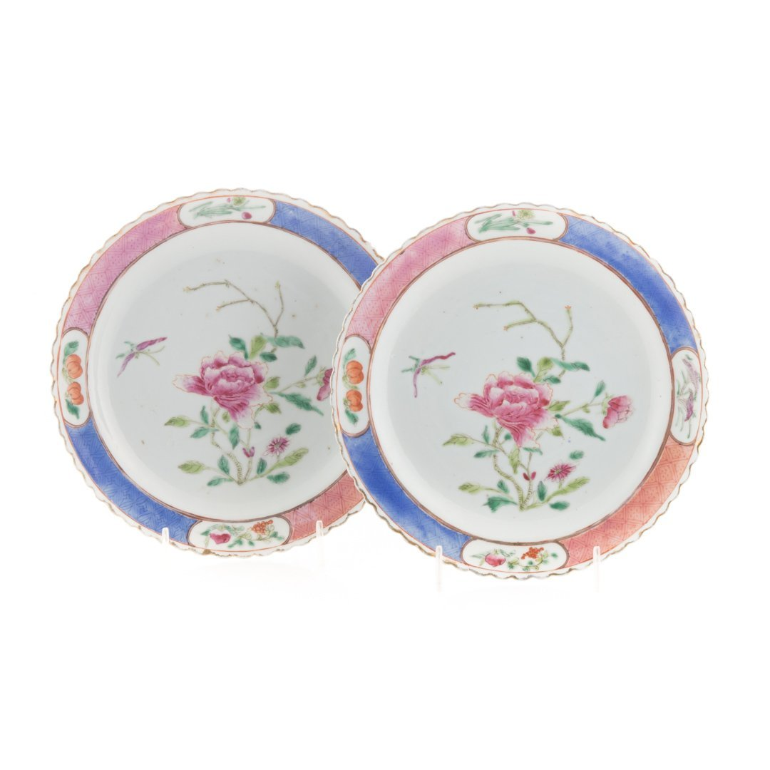 Pair Chinese Export Famille Rose plates