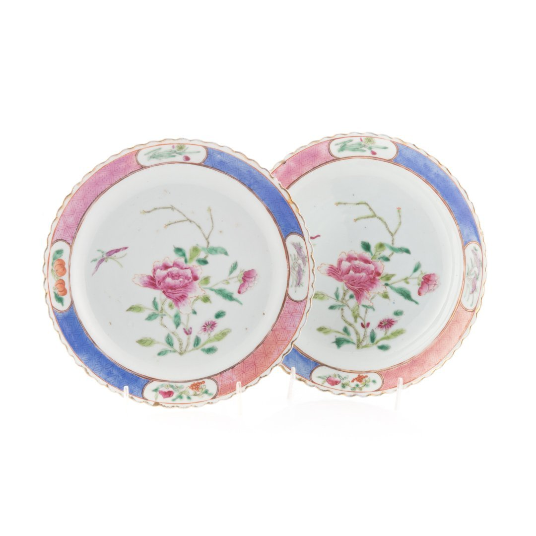 Pair Chinese Export Famille Rose plates - 2