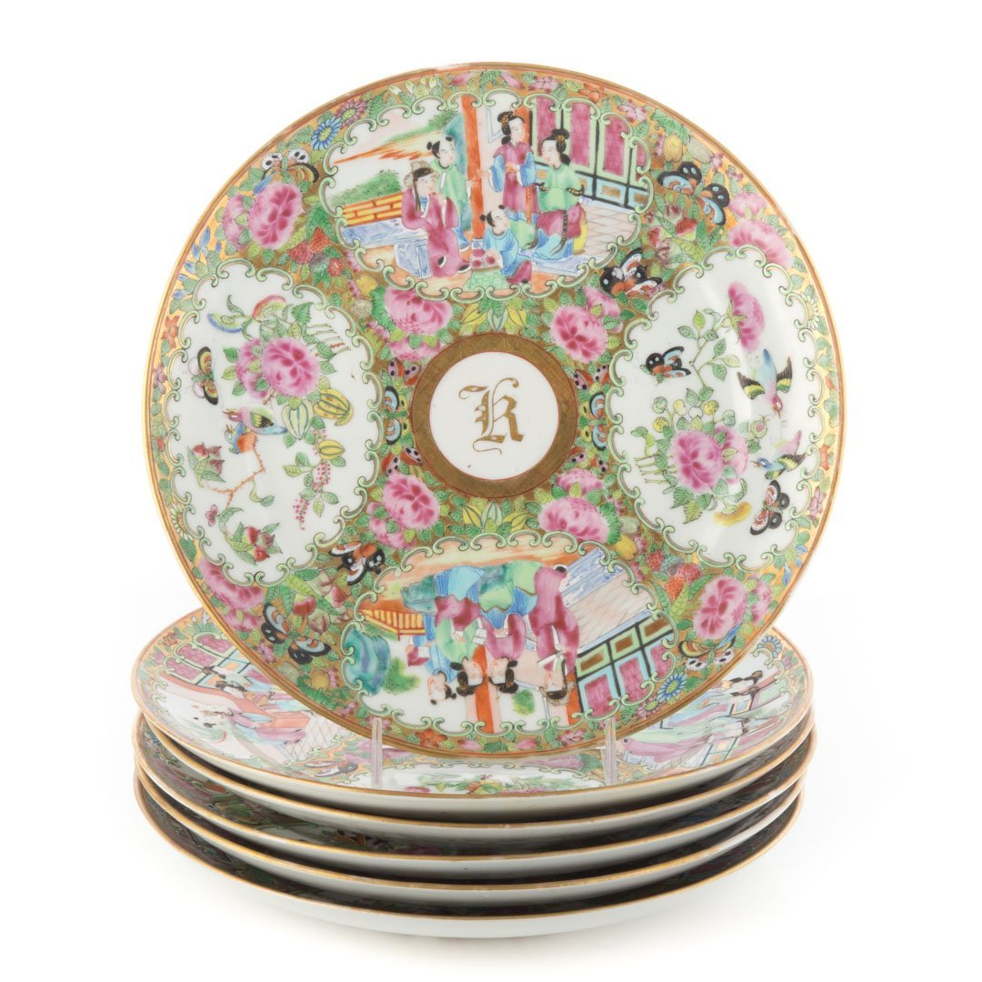 6 Chinese Export Rose Medallion monogrammed plates