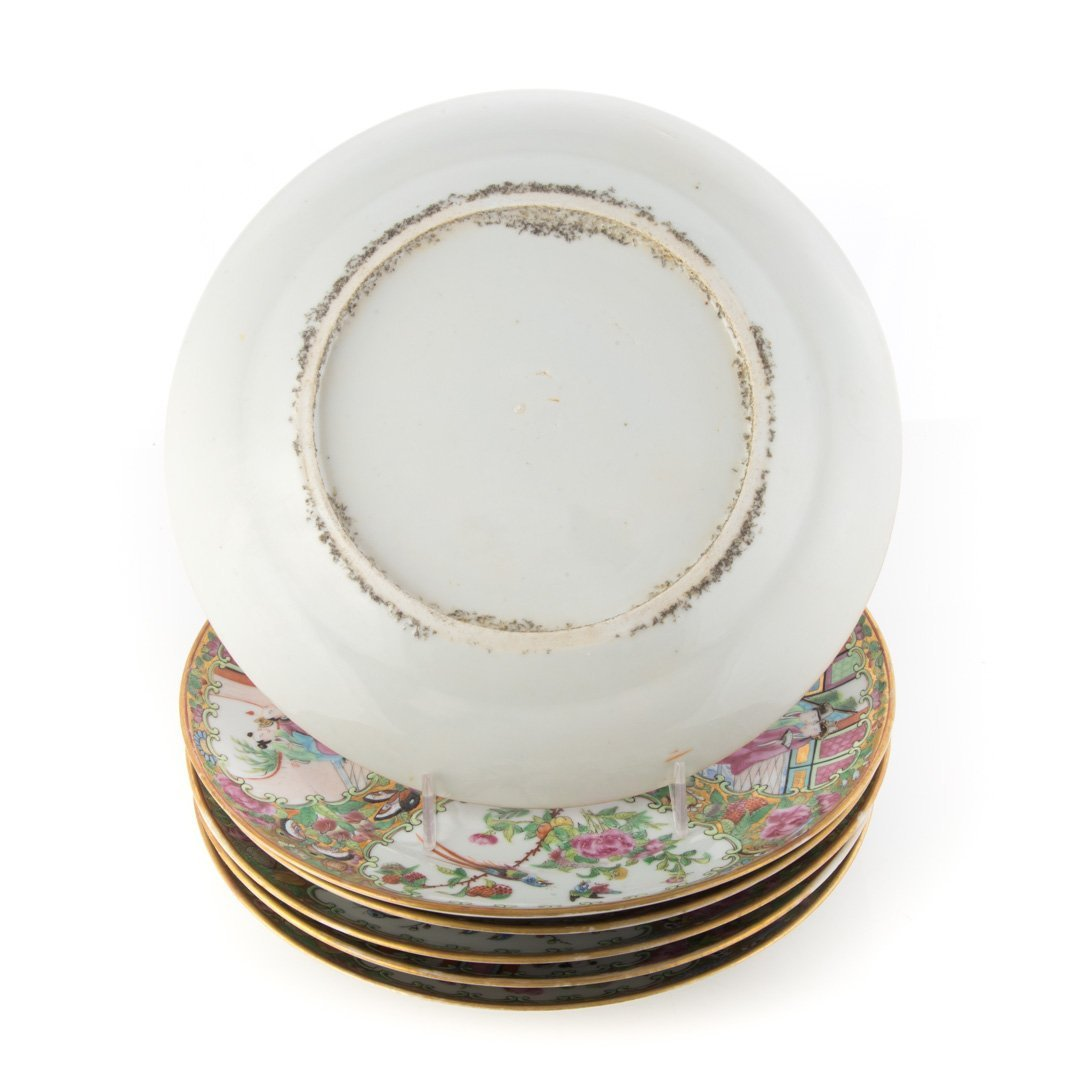 6 Chinese Export Rose Medallion monogrammed plates - 2