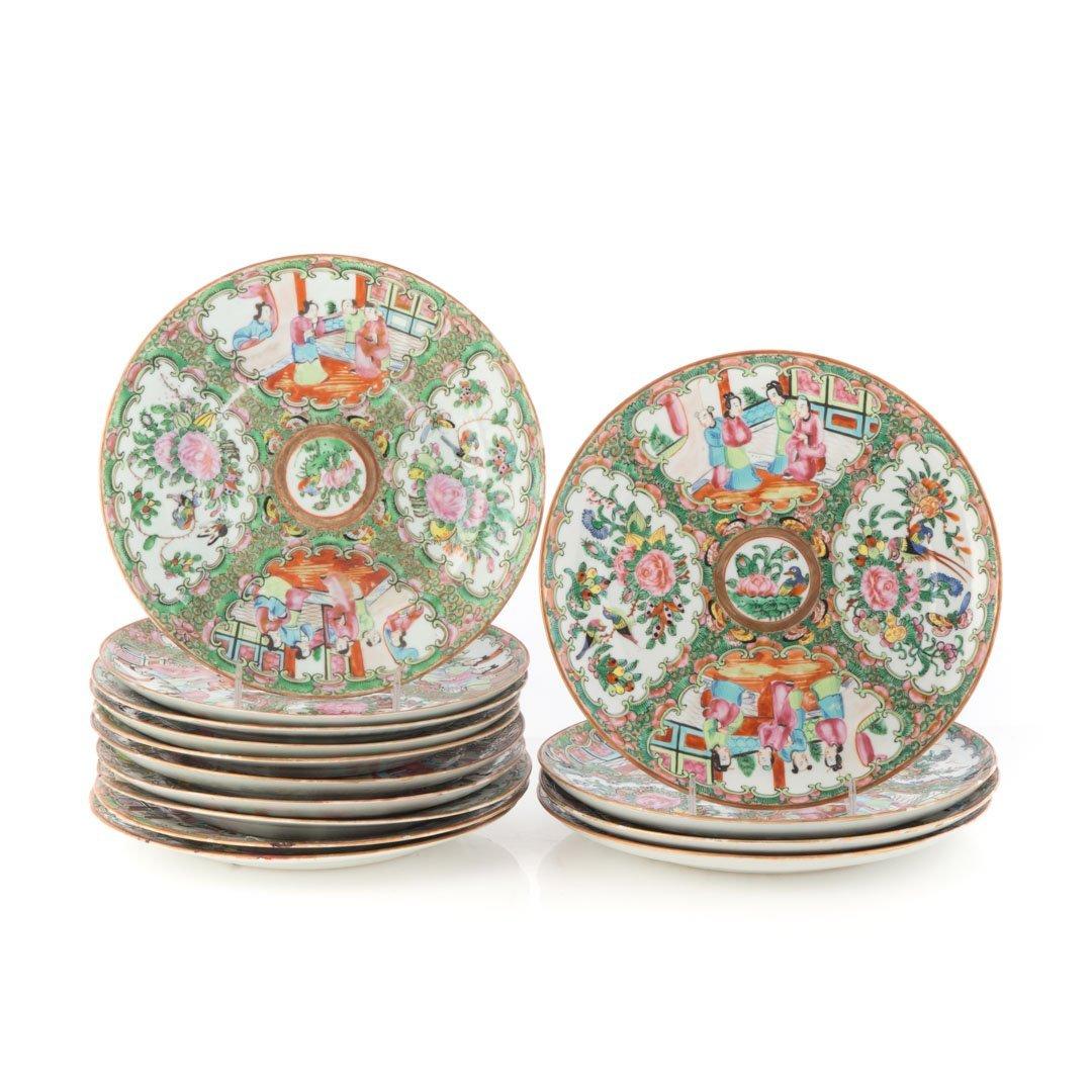 14 Chinese Export Rose Medallion dinner plates