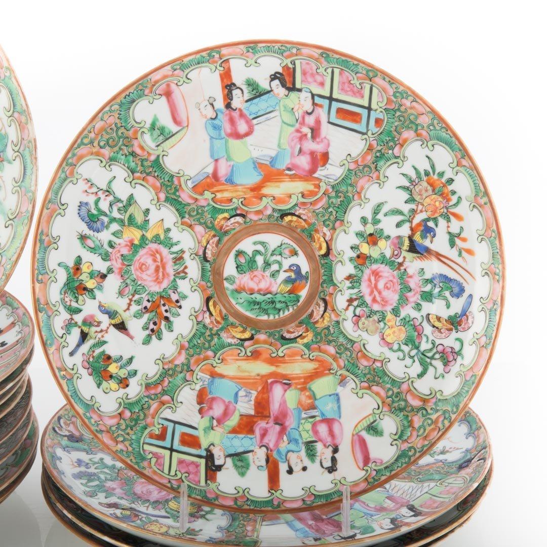 14 Chinese Export Rose Medallion dinner plates - 2