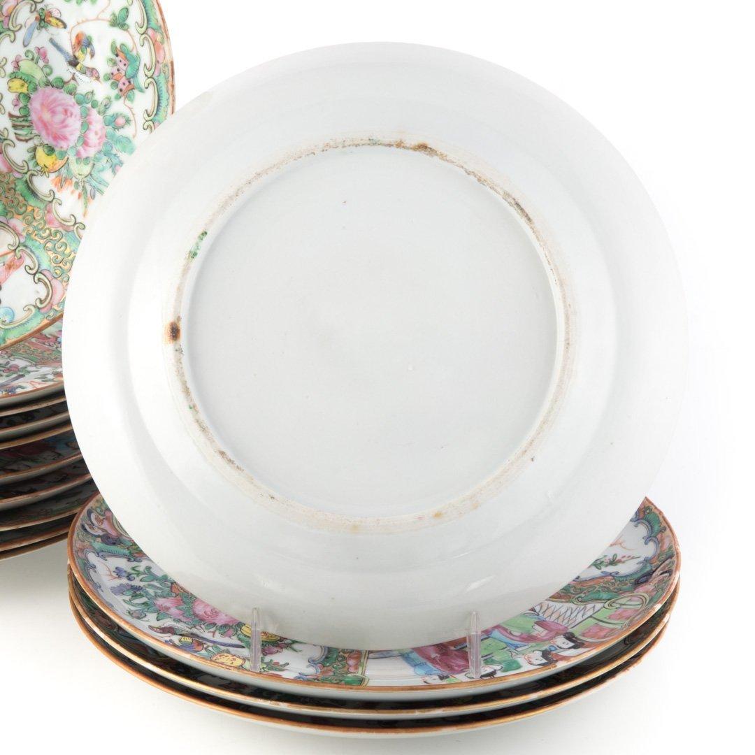 14 Chinese Export Rose Medallion dinner plates - 3