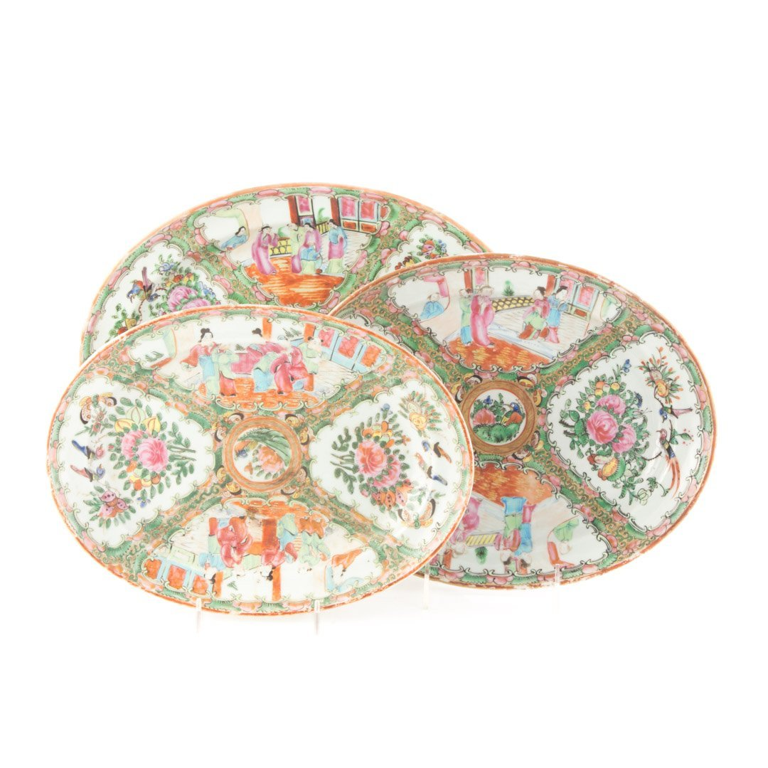 Three Chinese Export Rose Medallion platters