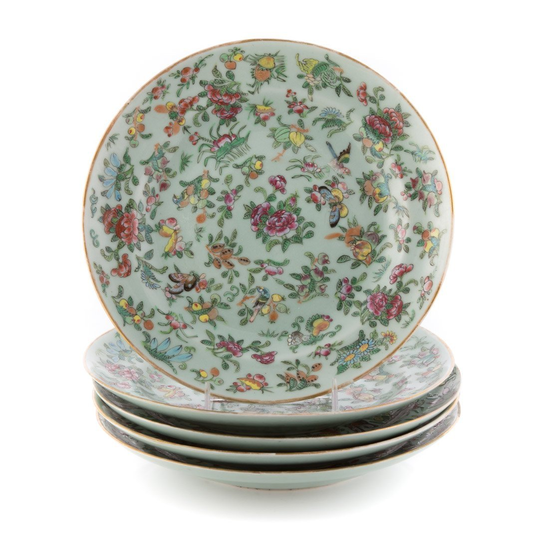 Five Chinese Export Famille Rose dinner plates