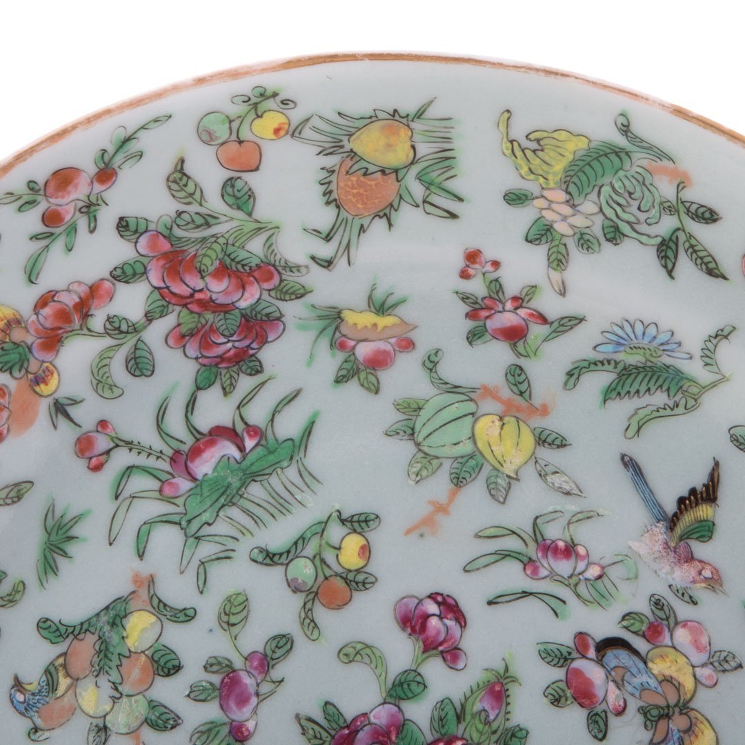 Five Chinese Export Famille Rose dinner plates - 2
